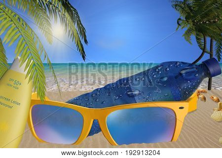 Beach with large sunglasses and big bottle water with suncream