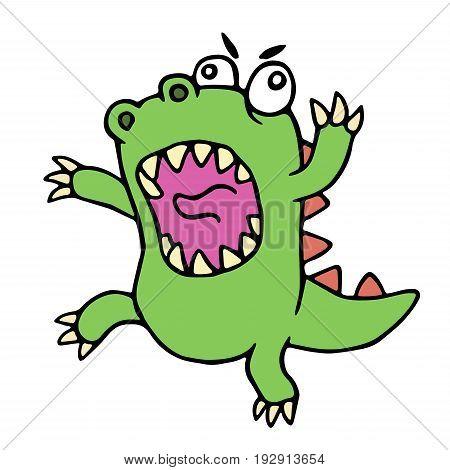 Mad cartoon dinosaur. Vector illustration. Cute imaginary animal character.