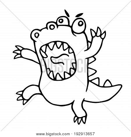 Cartoon mad dragon. Vector illustration. Funny imaginary animal character.