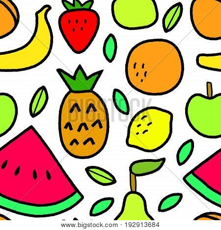 Simple fruits and leaves on white seamless pattern, vector background