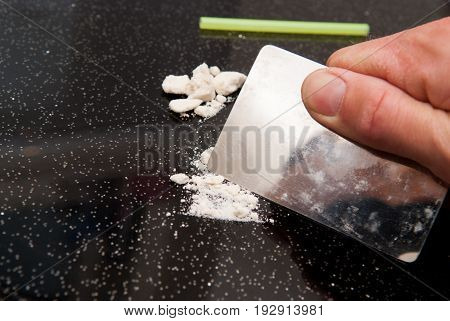 Drug Abuse, Cocaine Chopped And In Lines To Be Taken