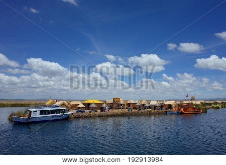 21ST DECEMBER 2016 PUNO PERU - A village on the Floating Islands on Lake Titicaca