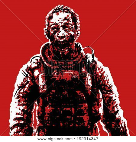 Zombie soldier in blood concept. Vector illustration. Drawing horror character illustration. Scary face picture. Red color background.