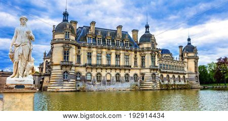 Great beautiful castles and heritage of France- Chateau de Chantilly , north from Paris