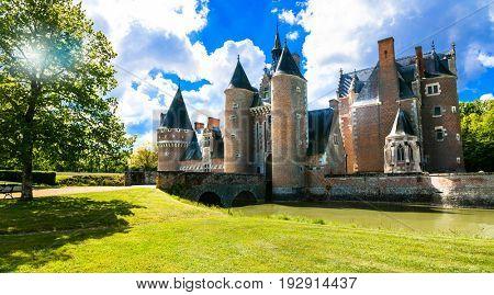 Romantic medieval castles of Loire valley - beautiful Chateau du Moulin