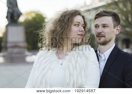 Young couple on a walk (Saint Petersburg, Russia)