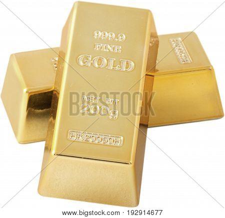 Bar isolated gold bars white background money