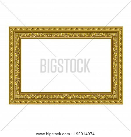 Squared decorative frame of golden color with finishing on perimeter the vector image