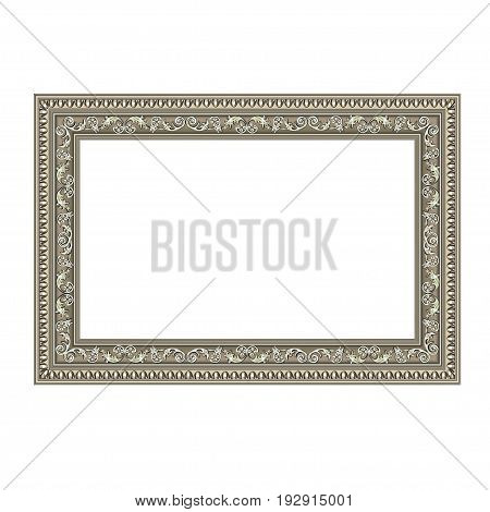 Squared decorative frame of silvery color with finishing on perimeter the vector image