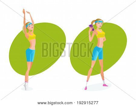 Sport and active lifestyle. Summer fitness girl training. Beautiful girl in summer sportswear, she does various exercises, and she makes a perfect result. Vector illustration, people in cartoon style.