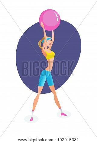 Sport and active lifestyle. Summer fitness girl training. Beautiful girl in summer sportswear, engaged in exercise therapy and doing exercises with rubber ball. Illustration, people in cartoon style.