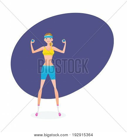Sport and active lifestyle. Summer fitness girl training. Beautiful girl in summer sportswear, is engaged in exercise therapy and does exercises with dumbbells. Illustration, people in cartoon style.