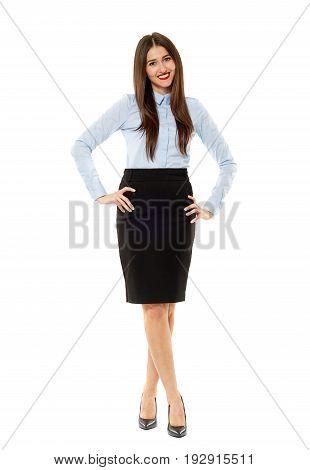 Latin Businesswoman On White Background