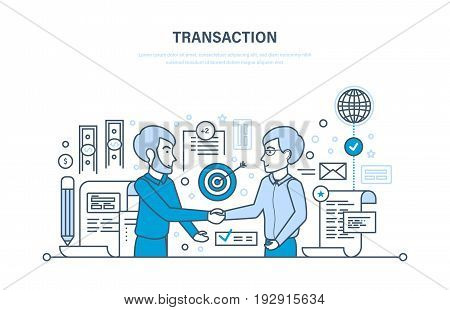 Secure transactions and payments, partnership, guarantee security of deposits, business strategy, planning, working methods. Illustration thin line design of vector doodles, infographics elements.