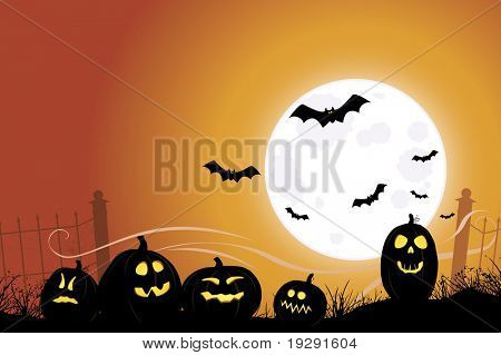 Halloween scene with bats flying over jack o' lanterns