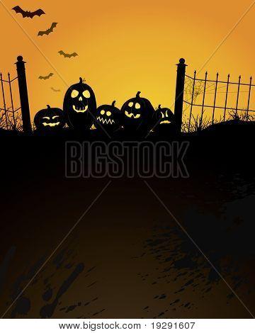 Vertical Halloween design with copy space in large dark black texture area below.