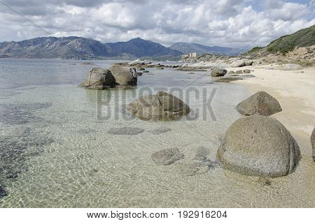 View of clean sea in South Sardinia