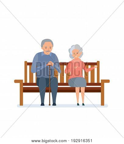 Lovely elderly couple sitting on a bench, they relax, communicate and spend time together. Couple people outdoor. Vector illustration on white background, people in cartoon style.