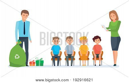 People are volunteers. Volunteers engaged in charitable affairs, visit the orphanage, give out gifts, pay attention, help children. Vector illustration on white background, people in cartoon style