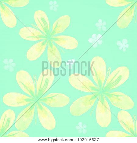 Yellow flowers isolated on a green blue background pattern. For use in scrapbooking floristry