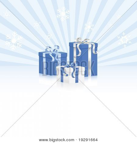 Blue wrapped gifts with shiny ribbons and bows on snow and light ray background. Reflective surface beneath on white.