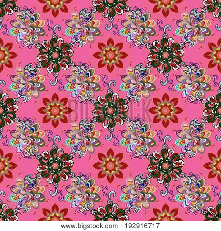 Blooming jungle. Motley vector illustration. Seamless exotic pattern with many tropical flowers.