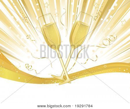 Champagne glasses on light burst and banner ribbon with white copy space below