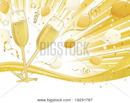 Champagne glasses with balloons and light burst