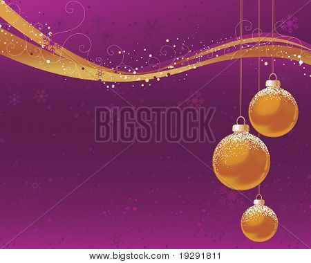 Vivid purple and pink background with gold orange ornaments and wave design.