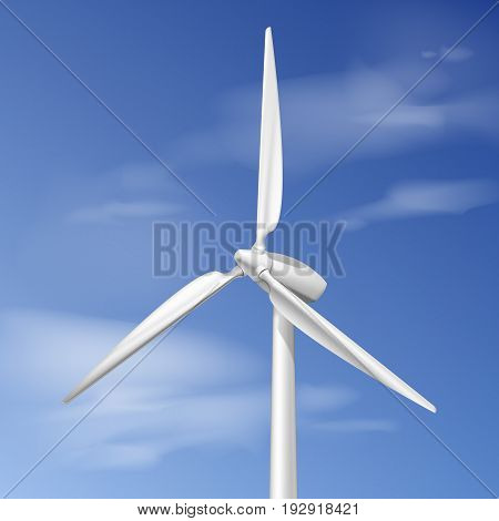 Vector illustration with wind turbine over blue cloudy sky