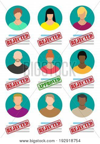 Human resources management concept, searching professional staff, work. Found right resume. Vector illustration in flat style