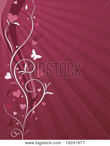 Pink and red heart and butterfly love background