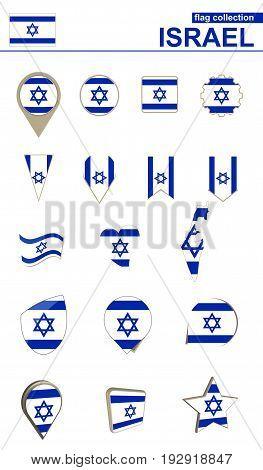 Israel Flag Collection. Big Set For Design.