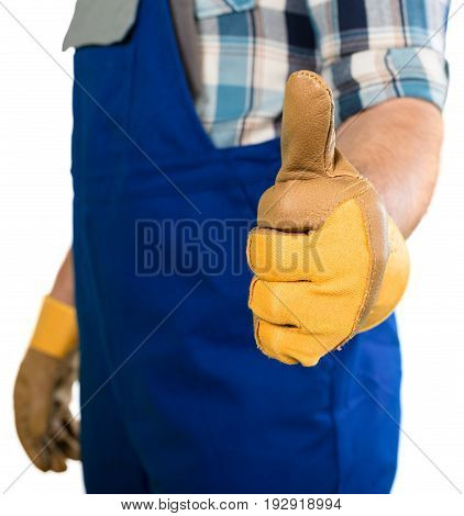 Man work worker thumb up background person sign