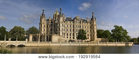 Palatial schloss located in the city of Schwerin, the capital of Mecklenburg-Vorpommern state, Germany