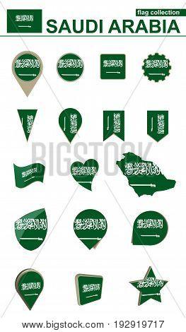 Saudi Arabia Flag Collection. Big Set For Design.