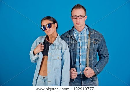 Woman And Man In Glasses And Jeans Jacket