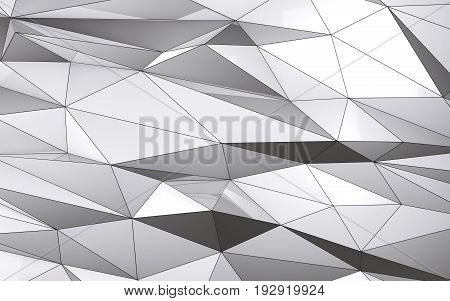 low poly abstract white metal background 3d render