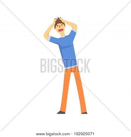 Frustrated sad man after car accident holding hands behind his head cartoon character vector Illustration isolated on a white background