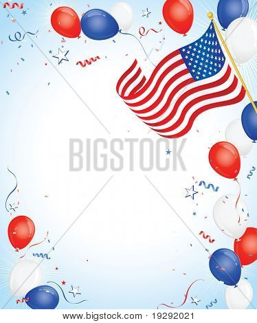 American Flag with Red White Blue balloons and confetti streamers