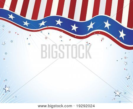 Red white and blue American Flag style banner with copy space