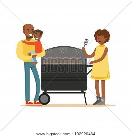 Young black woman grilling sausages on a grill for her family vector Illustration isolated on a white background