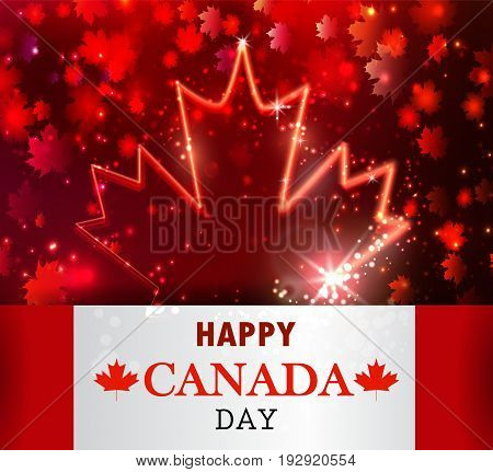 Firework and neon maple leaf and Canada flag for Canada day Vector background