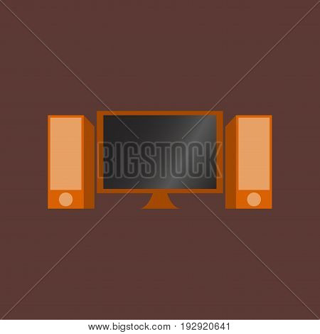 Technology gadget in flat design Computer speakers