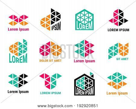 Colorful logo design for building or construction company. Emblems made of triangles. EPS 10 vector logotype set. Isolated.