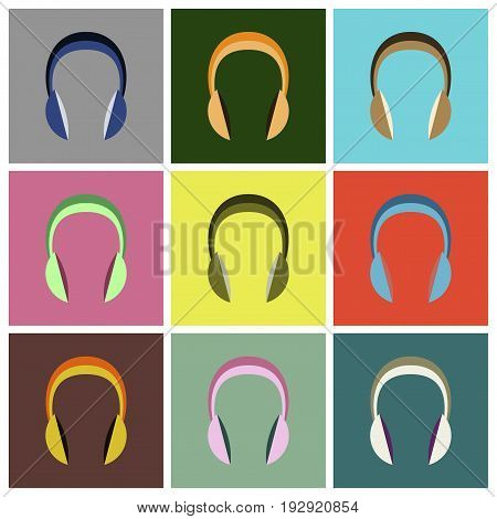 Set icons in flat design headphones information