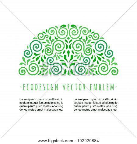 Ecology style flourish emblem. Decorative ornamental half circle made of green swirls and leaves. Eco design semi-round embellishment. EPS 10 vector illustration. Isolated.