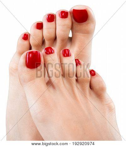 Beautiful female feet pedicure red background shape