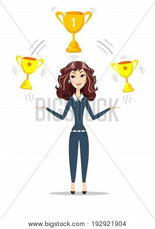 Abstract Businesswoman holding gold trophy goblet. Women in business she celebrates glory. For use in presentations. Stock flat vector illustration