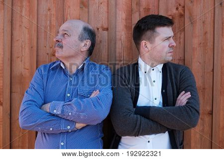 Family problems between son and father. They look in different dirrections